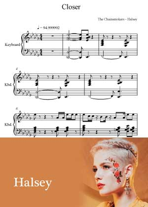ID00006_Closer By Halsey with sheet music in PDF score in songnes.com