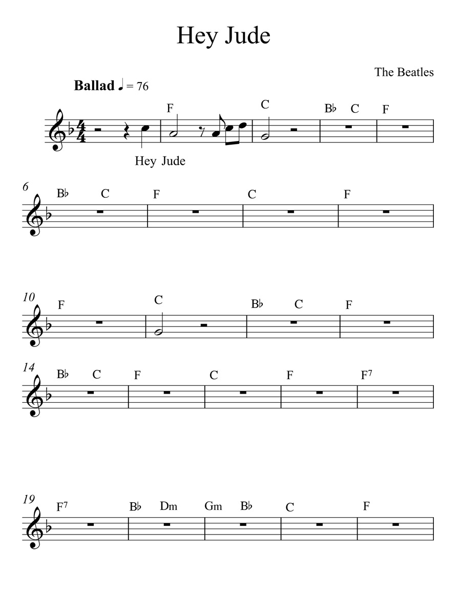 Hey jude by the beatles full song with chords sheet page 1 for hey jude chords by the beatles hexwebz Images