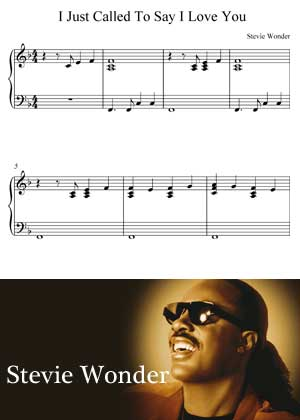 I Just Called To Say I Love You By Stevie Wonder With Sheet Music in PDF
