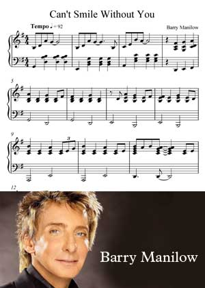 Can't Smile Without You By Barry Manilow with sheet music in PDF and video tutorial