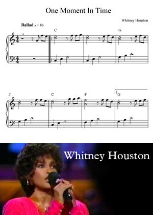 One Moment In Time By Whitney Houston with sheet music in PDF and video tutorial