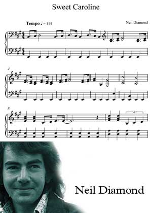 Sweet Caroline By Neil Diamond with sheet music in PDF and video tutorial