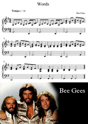 Words By Bee Gees with sheet music in PDF and video tutorial
