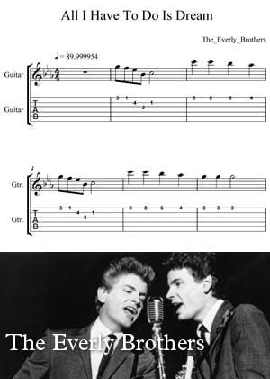 ID00048_All_I_Have_To_Do_Is_Dream By The Everly Brothers with sheet music in PDF score in songnes.com