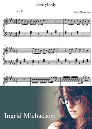 ID00050_Everybody By Ingrid Michaelson with sheet music in PDF score in songnes.com