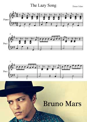 ID00055_The_Lazy_Song By Bruno Mars with sheet music in PDF score in songnes.com