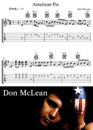 American Pie By Don McLean with Sheet music in PDF