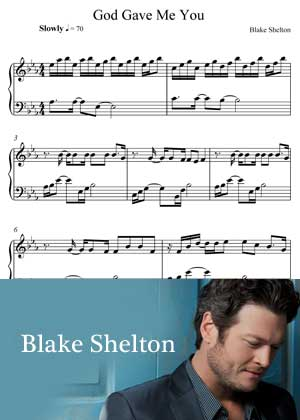 God Gave Me You By Blake Shelton with Sheet music in PDF