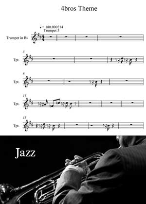ID18010_4_Bros_Theme_Trumpet By The Jazz Series for Trumpet with sheet music in PDF score in songnes.com