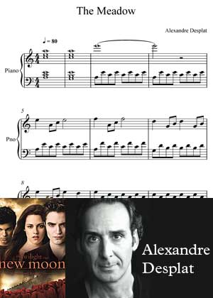 The Meadow By Alexandre Desplat with sheet music in PDF and video tutorial