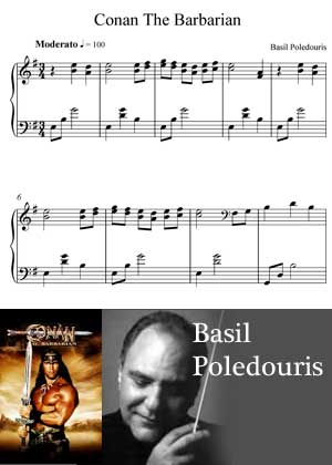 Conan The Barbarien By Basil Poledouris with sheet music in PDF and video tutorial