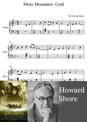 Misty Mountains Cold By Howard Shore with sheet music in PDF and video tutorial