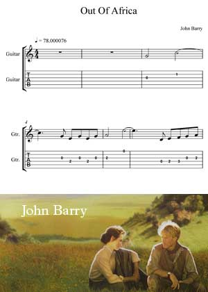 Out Of Africa By John Barry Movie Theme with shett music in PDF score and a video tutorial in songnes.com