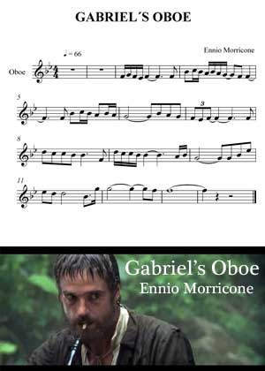 ID33130_Gabriel_Oboe_Melody By Ennio Morricone Movie Theme with sheet music in PDF score and a video tutorial in songnes.com