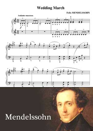 Wedding March By Mendelssohn with sheet music in PDF and video tutorial