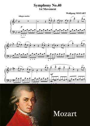Symphony No. 40 By Mozart with sheet music in PDF and video tutorial