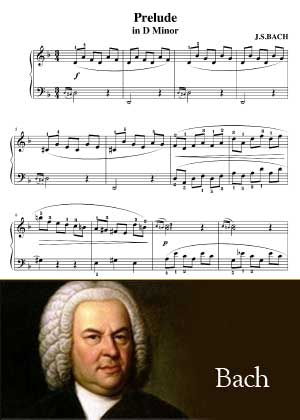 Prelude In D Minor By Bach with sheet music in PDF and video tutorial