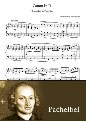 Canon In D By Pachelbel with sheet music in PDF and video tutorial