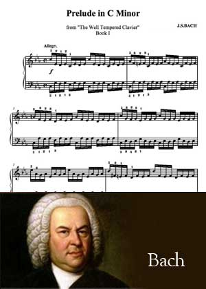 Prelude In C Minor By Bach with sheet music in PDF and video tutorial