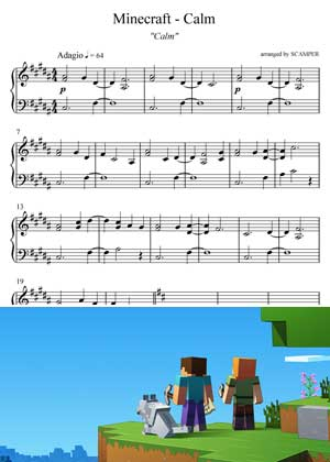 Calm From Minecraft with sheet music in PDF