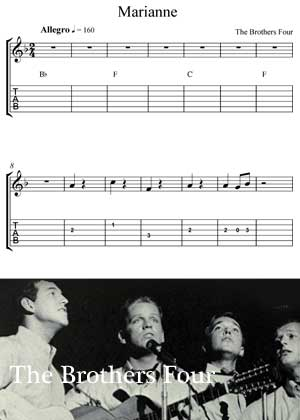 Marianne By The Brothers Four With Sheet Music in PDF