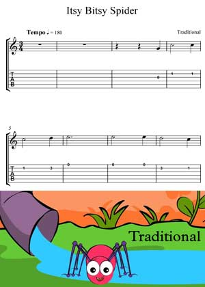 ID64114_Itsy_Bitsy_Spider with video tutorial and sheet music in PDF
