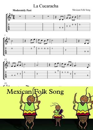ID64115_La_Cucaracha with video tutorial and sheet music in PDF