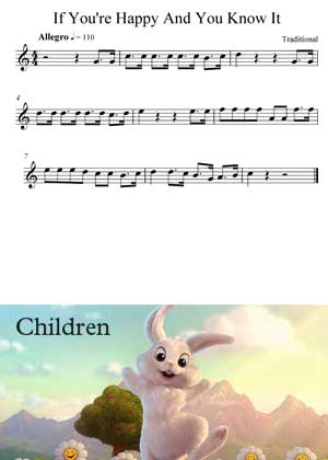 ID64127_If_Your_Happy_And_You_Know_It By Children with sheet music in PDF score in songnes.com