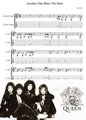 Another One Bites The Dust By Queen with sheet music in PDF and video tutorial
