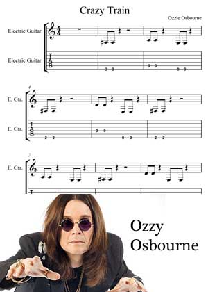 Crazy Train By Ozzy Osbourne with sheet music in PDF and video tutorial