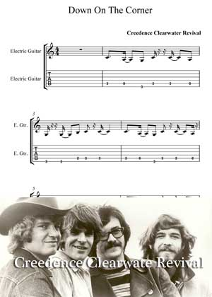 Down On The Corner By Creedence Clearwater Revival with sheet music in PDF and video tutorial