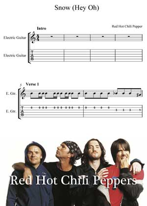 Snow Hey Ho By Red Hot Chili Peppers with sheet music in PDF and video tutorial