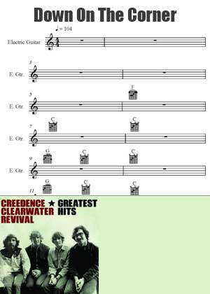 ID90032_Down_On_The_Corner_Chords By Creedence Water Revival with sheet music in PDF score in songnes.com