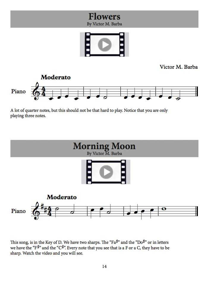 One sample page from the Piano Studies Book