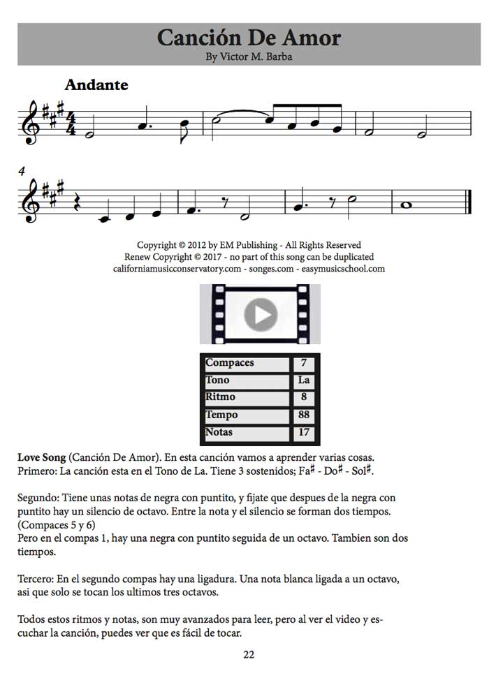 One sample page from the Songs Book
