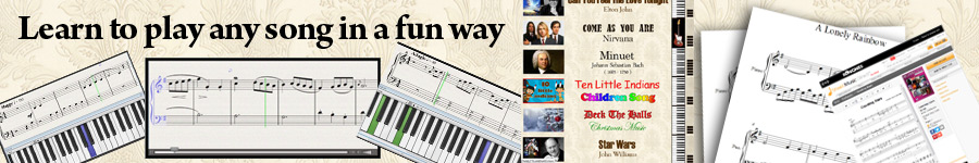 Learn to play any song, any time for free, plus tutorials and sheet music for music lessons