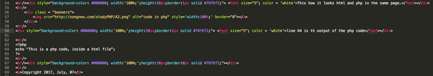 code in php